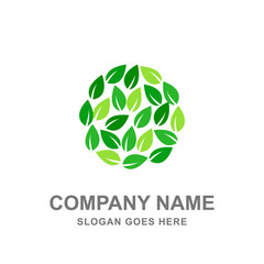 Leaf Nature Organic Green Round Logo Vector