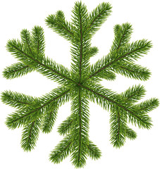 Green original coniferous snowflake isolated on white. Vector illustration.