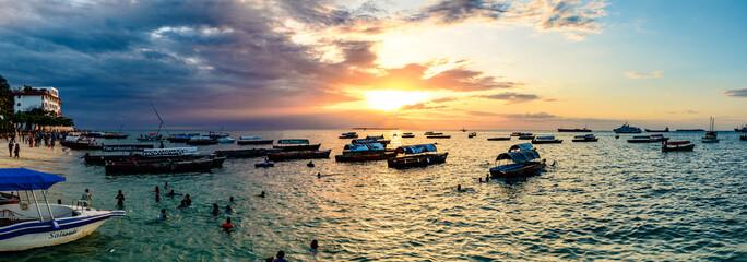 Foto auf Acrylglas Sansibar Sunset of Stone Town in Zanzibar, Tanzania. Zanzibar is a semi-autonomous region of Tanzania in East Africa.