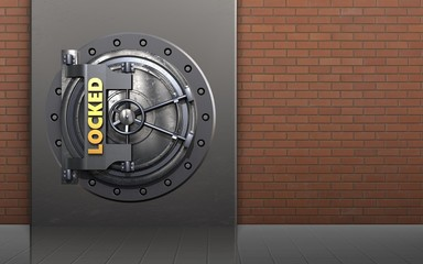 3d safe locked vault door