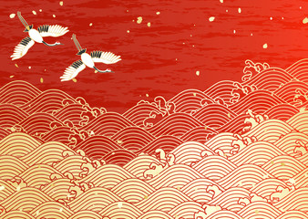 鶴 初日の出 波紋 金 赤