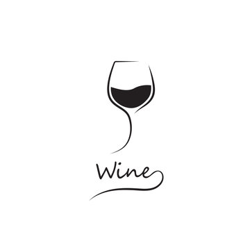 Modern black glass of wine. Elegant icon, symbol, logo alcohol. For the menu, bar, restaurant, wine list. Minimal.