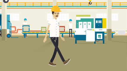 Man on the production animation. a man with a mustache and helmet work on the production animation. Energetic man happened on the work animation. It puts on a helmet of protection. It marks ok.