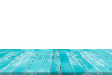 Empty wood blue table top on white isolated background,copy space for montage product