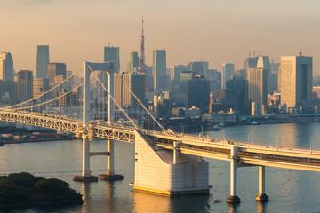 Tokyo Tower and Rainbow Bridge in Japan