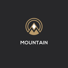 Mountain logo with letter M in a shape of circle.