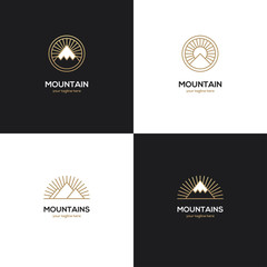 Four mountain logo in golden color.