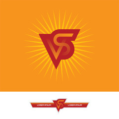 VS letters logo design in red and orange colors.
