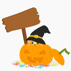 Halloween cartoon vector. a cat wearing black witch hat inside a Halloween pumpkin and an empty wooden sign