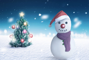 Jack frost with christmas tree background