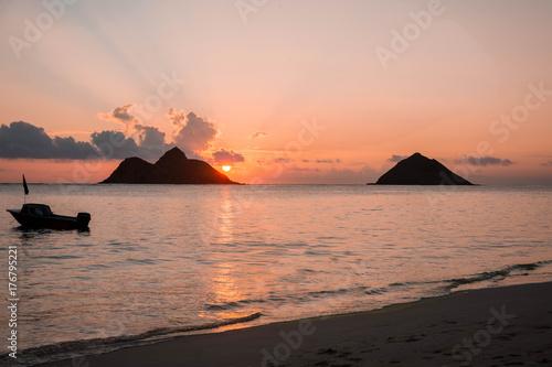 Sunrise Lanikai Beach Oahu Hawaii Stock Photo And