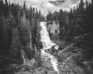 Black and White Waterfall Long Exposure of Alexander Falls in BC