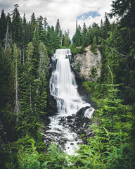 Beautiful Waterfall Long Exposure in British Columbia Wilderness