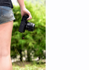 Young female photographer .Right space for text input .