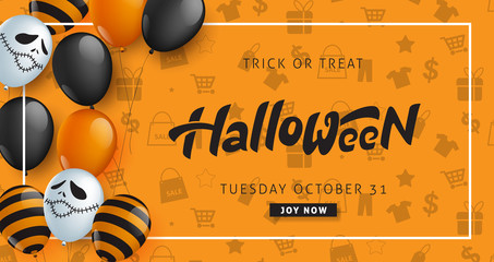 Happy Halloween banner template decor with balloons design.banners party invitation.Vector illustration .
