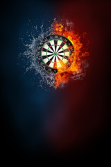 Darts sports tournament modern poster template. High resolution HR poster size 24x36 inches, 31x91 cm, 300 dpi, vertical design, copy space. Darts board exploding by elements fire and water.