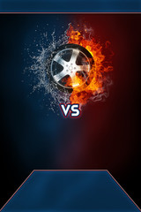Car wheel modern poster template. High resolution HR poster size 24x36 inches, 31x91 cm, 300 dpi, vertical design, copy space. VS text and car wheel exploding by elements fire and water.