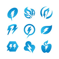 Electrical thunder logo set