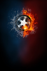 Car wheel street race poster template. High resolution HR poster size 24x36 inches, 31x91 cm, 300 dpi, vertical design, copy space. Car wheel exploding by elements fire and water.