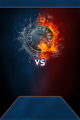 Speedometer and vs text modern poster template. High resolution HR poster size 24x36 inches, 31x91 cm, 300 dpi, vertical design, copy space. Speedometer exploding by elements fire and water.