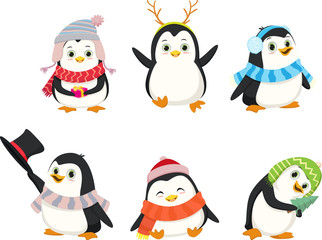 Cute Christmas penguin cartoon set.