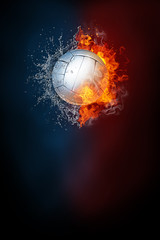 Volleyball sports tournament modern poster template. High resolution HR poster size 24x36 inches, 31x91 cm, 300 dpi, vertical design, copy space. Volleyball ball exploding by elements fire and water.
