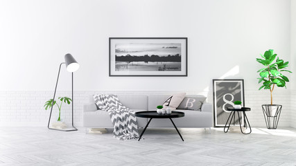 Modern scandinavian  style , living room  interior  concept,  gray sofa on wood floor with white wall,3D render