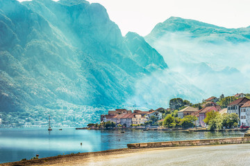 View of the embankment in the city of Perast in Kotor Bay, Montenegro.