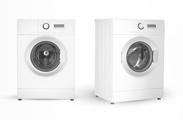 modern electric washing machine two positions on a white background