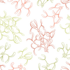 Mistletoe graphic color sketch seamless pattern illustration vector