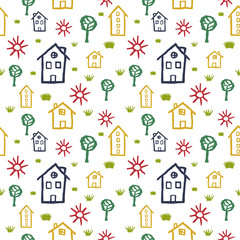 Seamless pattern of children's drawing. Children's picture on a white background.