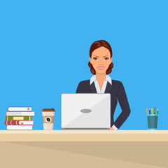 Business woman Sitting Desk Working Laptop
