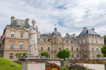 Paris, the Senat in the Luxembourg garden, with a woman statue in front, french institution