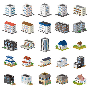 3D建物セット 一戸建て・アパート・マンション