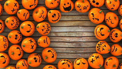 3D Render Wide angle Top view of a lot of funny Jack-O-Lantern or Halloween pumpkins  on wood ground look at the same point. With circle space on the Right and ready to make a card.