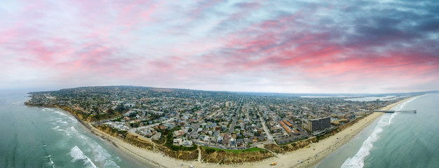 Aerial panoramic view of La Jolla Beach, San Diego
