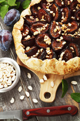 Galette with plums and  peanuts
