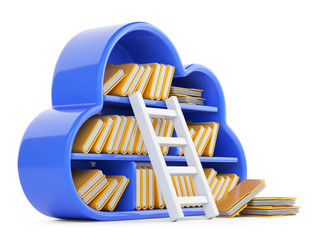 Cloud computing and store concept with blued shelf, stair and folders.