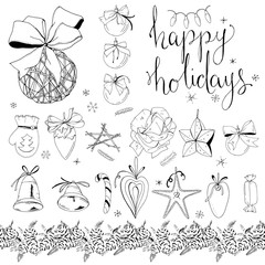 Big set with vintage Christmas decoration isolated on white. Festive elements and symbols, retro style, for new year season design. Black and white, contour, hand drawn.