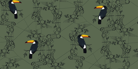 toucan on a graphic background in the style of minimalism with honeycomb