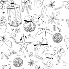 Seamless pattern with christmas vintage decoration. New year retro symbols on white. Black and white, contour, hand drawn. Endless texture for festive season design.
