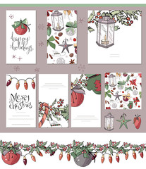 Big set with vintage Christmas decoration. Flyers, banners, visit cards.  Festive elements and symbols, retro style, for new year season design. Green and dark red color, contour, hand drawn.