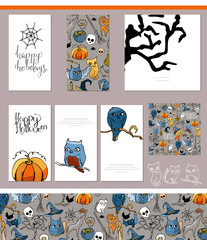 Halloween symbols on visit cards and posters.
