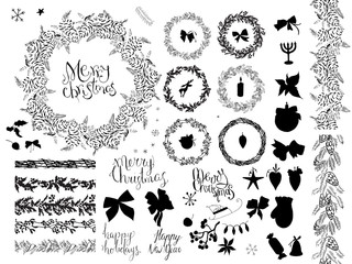 Big set with vintage Christmas decoration.  Festive elements and symbols  for new year season design. Monochrome,contour, black and white, hand drawn.