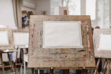 Sheet of paper on easel