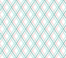 Geometric background, seamless, thin blue line, diamonds, vector. Turquoise and pink thin lines cross on a white field. Vector decor.