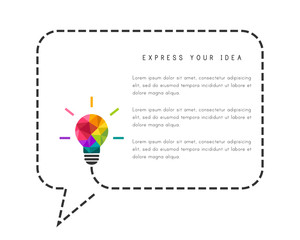 Speech bubble made of dotted line with low poly lightbulb as creative idea concept