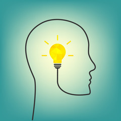 Thinking concept with bright yellow light bulb and wire forming human profile line