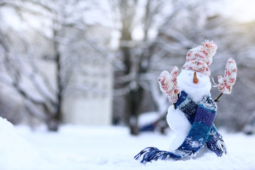 warming smile for the winter holidays/ Christmas snowman in Scarf, hat and mittens on the background of snowy landscape