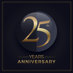 25 years gold and black anniversary celebration simple logo template on dark background